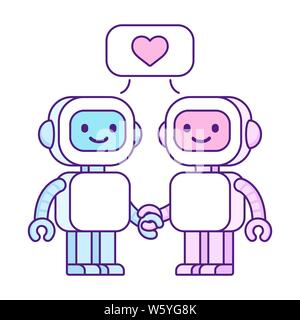 Cute cartoon robots in love. Robot couple, boy and girl, with heart symbol in speech bubble. Isolated vector clip art illustration. - Stock Photo