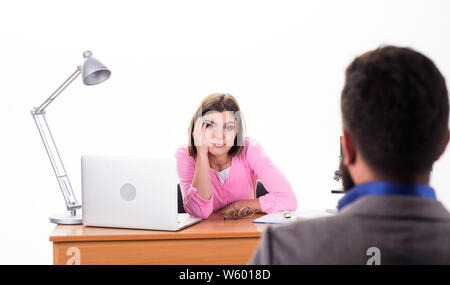 Interview goes well. Pretty boss making decision about job applicant. Man applying for job. HR manager conducting job interview. Interviewer asking interview questions to candidate. Job interview. - Stock Photo