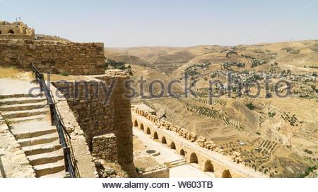 View from the walls of Kerak castle, a large Crusader castle located in al-Karak, Jordan - Stock Photo