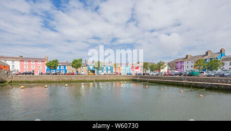 The inner harbour in the colourful Welsh town of Aberaeron, Ceredigion, North West Wales, UK - Stock Photo