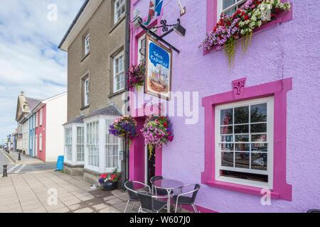 The Tafarn y Cadwgan pub in Aberaeron a popular seaside town in Ceredigion, Wales, UK