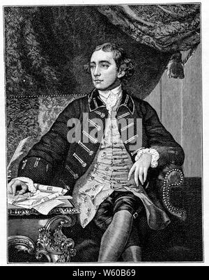 Warren Hastings (1732-1818), 1777. By Thomas Watson (1750-1781) after Sir Joshua Reynolds (1723-1792). Warren Hastings (1732-1818) English statesman and  first de facto Governor-General of India from 1774 to 1785. In 1787 he was accused of corruption and impeached but after a long trial he was acquitted in 1795. He was made a Privy Councillor in 1814. - Stock Photo