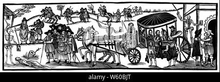 Flight of the townspeople into the country to escape from the plague, AD 1630. 17th century. - Stock Photo