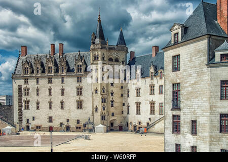 Castle of the Dukes of Brittany in Nantes city, France - Stock Photo