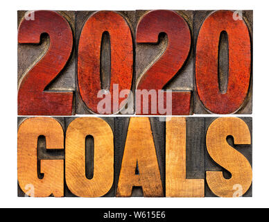 2020 goals banner - New Year resolution concept - isolated text in vintage letterpress wood type printing blocks - Stock Photo