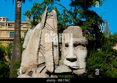 Monument to the Indigenous People in the Plaza de Armas - Santiago - Chile - Stock Photo