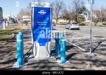 Rear view of a twin Electric vehicle charger at Tamworth Australia. - Stock Photo
