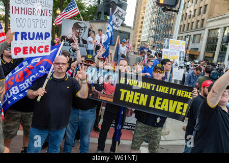 Detroit, Michigan USA - 30 July 2019 - Supporters of Donald Trump rallied outside the first night of the Democratic Presidential Debate.