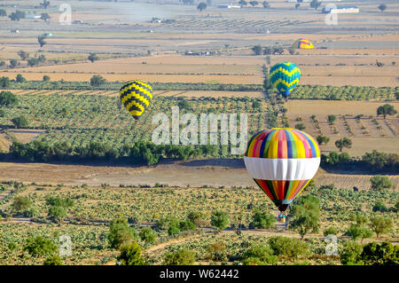 Colorful hot air balloon landing in rural farm field - Stock Photo