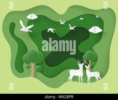 Ecology and environmental background concept. Love couple deer in forest in paper cut style. Vector illustration. Wallpaper, backdrop, poster, banner, - Stock Photo