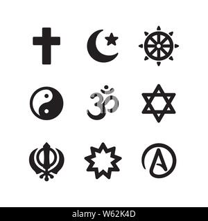 Icon set of religious symbols. Christianity, Islam, Buddhism, other main world religions and Atheism sign, simple and modern minimal style. Vector pic - Stock Photo