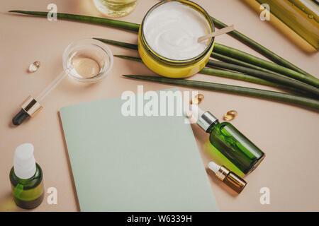 Natural cosmetics. Serum, shampoo, hair mask. Organic care concept. Flat lay - Stock Photo