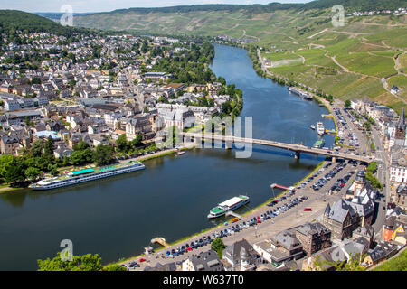 View at the valley of the river Moselle and the city of Bernkastel-Kues - Stock Photo