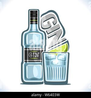 Vector illustration of alcohol drink Gin - Stock Photo