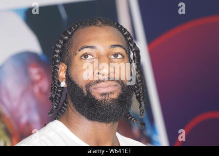 NBA star Andre Drummond of Detroit Pistons attends a press conference for the NBA Championship Exhibition in Shanghai, China, 31 August 2018. - Stock Photo