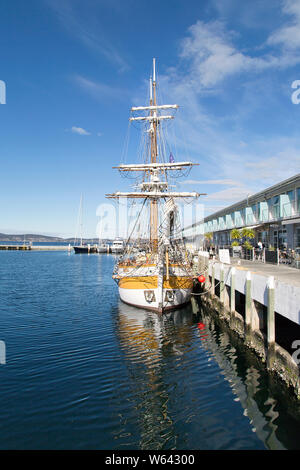 Hobart, Tasmania: April 01, 2019: Lady Nelson is a full size replica of a twin masted Brigatine. She is berthed at her home port in Hobart. - Stock Photo