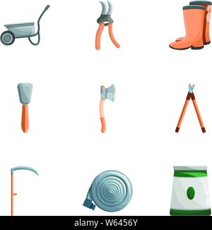 Garden work tools icon set. Cartoon set of 9 garden work tools vector icons for web design isolated on white background - Stock Photo