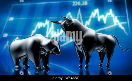 Silver bull and bear in front of stock market graphics - 3D illustration - Bulle und Bär