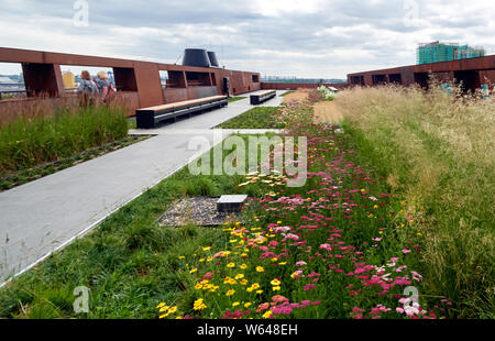 Europe, Poland, Gdansk, The green roof of the  European Solidarity Center museum and lib - Stock Photo