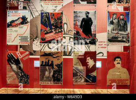 Europe, Poland, Gdansk, Collection of russian propaganda posters for the war inside the Museum of The Second War in Gdansk - Stock Photo