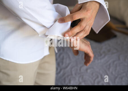 Pre Wedding Preparations. Groom getting ready for wedding ceremony. Greek, Cypriot wedding traditions - Stock Photo