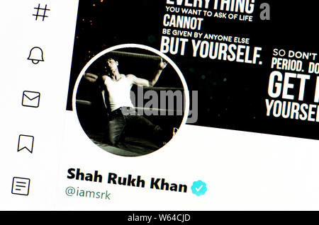 Twitter page (July 2019) Shah Rukh Khan - Indian film actor - Stock Photo