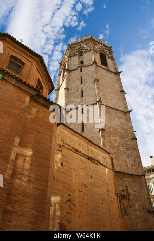 Valencia, Spain - 07/21/2019: Miguelete, Torre del Micalet, El Micalet - Valencian Gothic-style bell tower of Valencia Cathedral. It is 50.85 metres h - Stock Photo