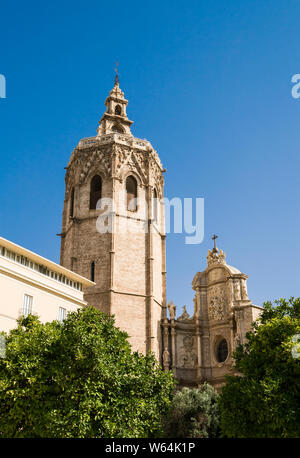 Valencia, Spain - 07/21/2019: Miguelete, Torre del Micalet, El Micalet - Valencian Gothic-style bell tower of Valencia Cathedral. It is 50.85 metres. - Stock Photo