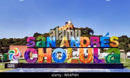 Mexico, San Andres de Cholula town, Santuario de Nuestra Senora de los Remedios, - Stock Photo