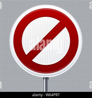 Vector illustration. Prohibition signal. Traffic road signal with reflective texture. Isolated. - Stock Photo