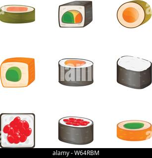 Sushi roll icon set. Cartoon set of 9 sushi roll vector icons for web design isolated on white background - Stock Photo