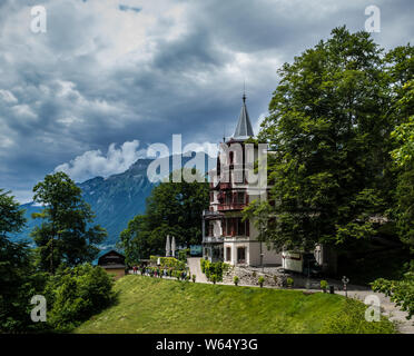 Grand Hotel Giessbach on Lake Brienz in Switzerland - Stock Photo
