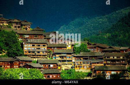 Scenery of the Xijiang Miao village in Leishan county, Qiandongnan Miao and Dong Autonomous Prefecture, southwest China's Guizhou province, 27 July 20 - Stock Photo