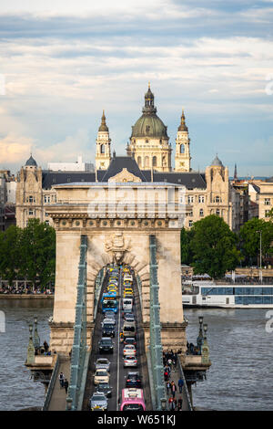 Budapest, Hungary - May 27 2019: Traffic stuck on the the famous Széchenyi Chain Bridge over the Danube river in the heart of Budapest old town in Hun - Stock Photo
