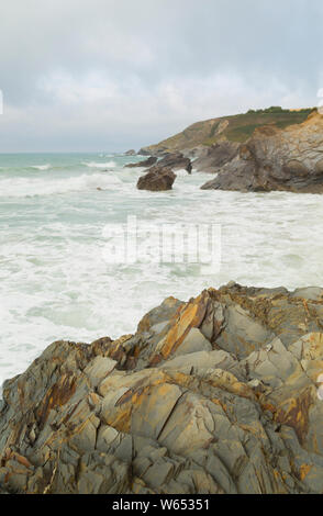 Dollar Cove Gunwalloe on the Lizard Coast of Cornwall - Stock Photo