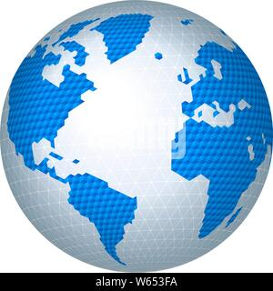 Vector illustration. Hexagonal restricted world map image in blue tones. - Stock Photo