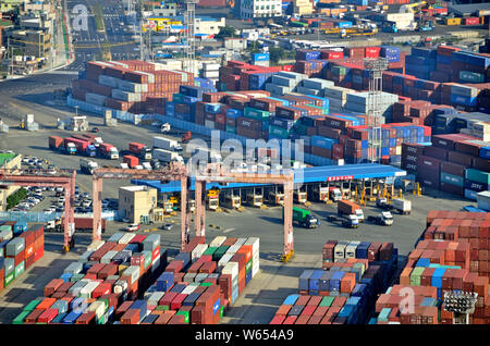 An aerial view of a container terminal in Busan, South Korea's leading port - Stock Photo