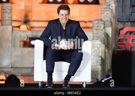 American actor and producer Tom Cruise attends the China premiere of the movie 'Mission: Impossible ¨C Fallout' in Beijing, China, 29 August 2018. - Stock Photo