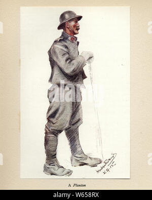 World Ward One, French soldier, a Planton, 1915. Mr Poilu, by Herbert Ward. - Stock Photo