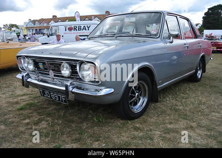 A 1968 Ford Cortina parked up on display at the English Riviera classic car show, Paignton, Devon, England. UK. - Stock Photo