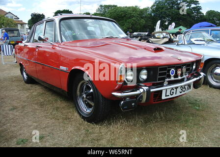 A 1975 Rover 3500S V8 parked up on display at the Riviera classic car show, Paignton, Devon, England, UK. - Stock Photo