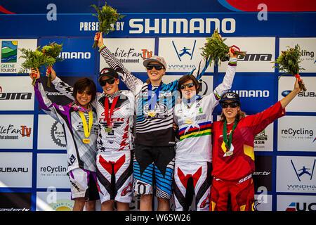 AUGUST 29, 2010 - WINDHAM NY, USA. UCI MTB DH World Cup podium: 1. Rachel Atherton, 2. Tracy Moseley, 3. Emmeline Ragot, 4. Mio Suemasa, 5. Floriane P - Stock Photo