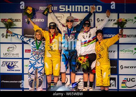 JULY 10, 2011 - WINDHAM NY, USA. UCI MTB DH World Cup podium: 1. Rachel Atherton, 2. Floriane Pugin, 3. Tracy Moseley, 4. Myriam Nicole, 5. Emily Seig - Stock Photo