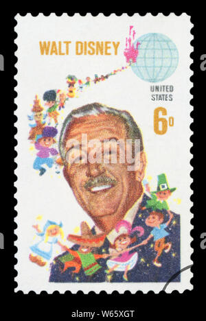 UNITED STATES OF AMERICA - CIRCA 1968: A used postage stamp from the USA, depicting an image of American animator. - Stock Photo