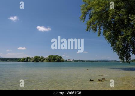 Fraueninsel, view to Krautinsel, july, Lake Chiemsee, Bavaria, Germany - Stock Photo