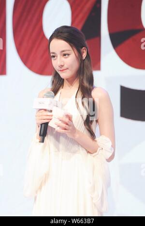 Chinese Uigur actress Dilraba Dilmurat attends a promotional event for Haagen-Dazs in Shanghai, China, 15 August 2018. - Stock Photo