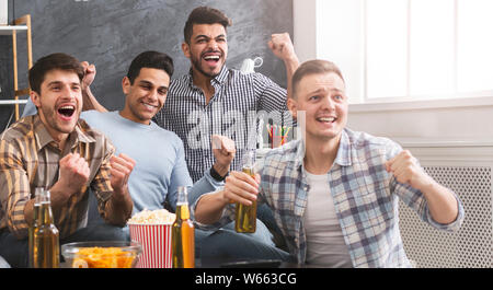 Goal. Football Fans Watching Match And Cheering