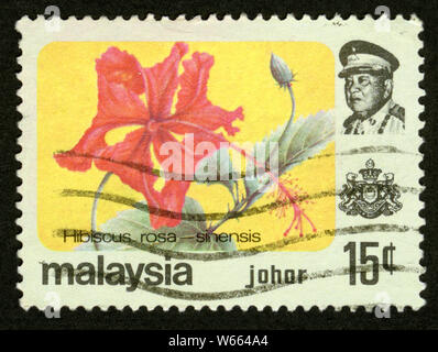 Stamp print in Malaysia,Johor, Hibiscus rosa-sinensis,flowers - Stock Photo