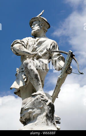 Statue of Guillaume Wilhelm William Tell in front of the palace of justice in Lausanne - Stock Photo