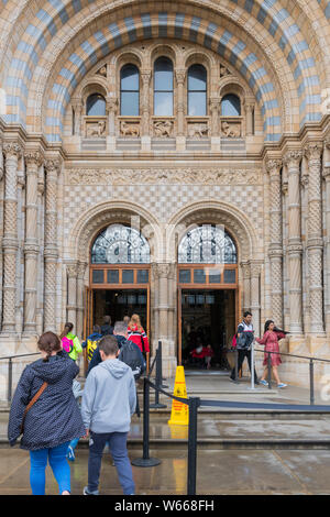 People at the entrance to the Natural History Museum Cromwell Road London SW7 UK - Stock Photo